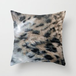 Snow Leopard Fur Abstract Throw Pillow