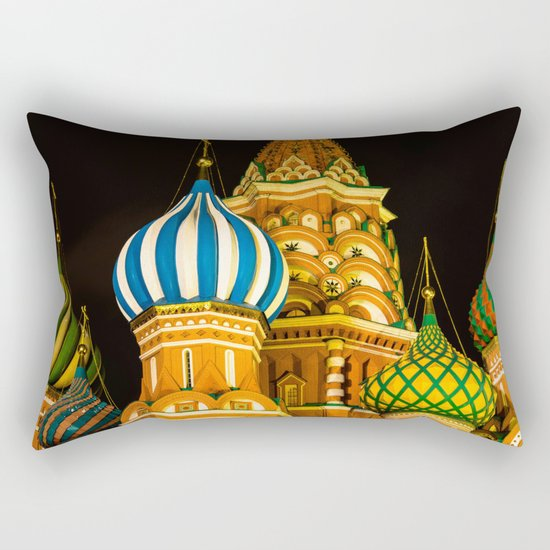 Domes of St. Basil's Cathedral on red square Rectangular Pillow