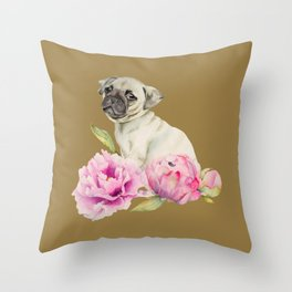 Pug and Peonies | Watercolor Illustration Throw Pillow