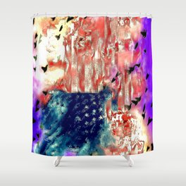 The American Flag Painted Shower Curtain