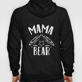 Mama Bear With Feathers Star - Funny Mothers Day Hoody