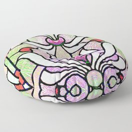 Delicate Stained-glass in Victorian Pink Detail Floor Pillow
