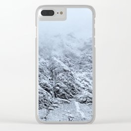 Snow covered mountain Scotland Clear iPhone Case