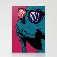 rock n roll Stationery Cards featuring Rock N' Roll Skull by Diseños Fofo