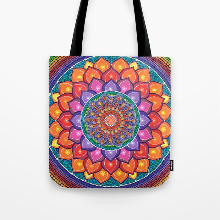 Lotus Rainbow Mandala Tote Bag