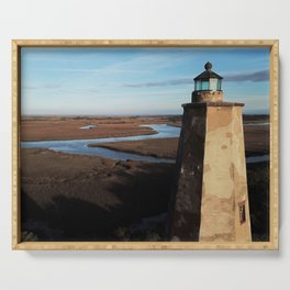 Old Baldy Lighthouse   Drone Photo   Bald Head Island, NC Serving Tray
