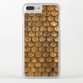 Weathered wall of wooden shingles Clear iPhone Case