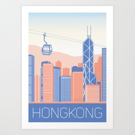 Hong Kong City Illustration Art Print