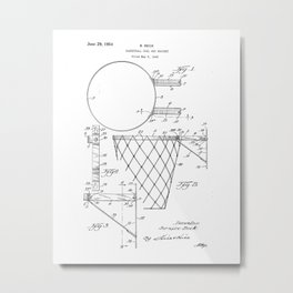Basketball Goal and Bracket Vintage Patent Hand Drawing Metal Print