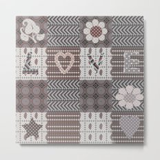 Retro . Valentine's day . Patchwork . Metal Print