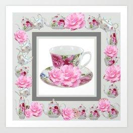 ABSTRACTEd PINK ROSE TEA TIME PORCELAIN ART Art Print