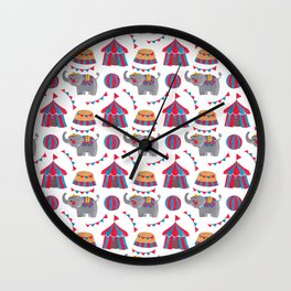 Colorful red blue gray watercolor elephant circus pattern Wall Clock