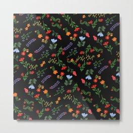 Dark Flower Pattern Metal Print
