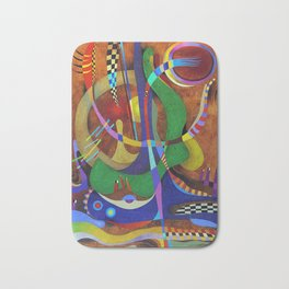 Painting abstract climbing in the mountains Bath Mat