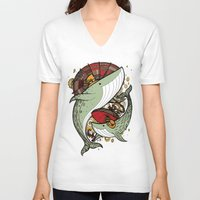 whales V-neck T-shirts featuring Whales by green penguin