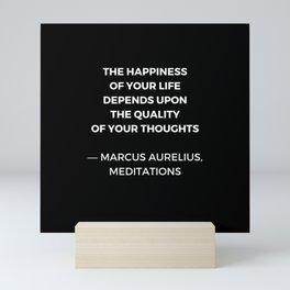 Stoic Wisdom Quotes - Marcus Aurelius Meditations - Happiness Mini Art Print