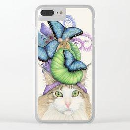 Cat in Blue Hat Clear iPhone Case