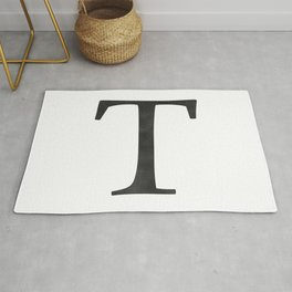 Letter T Initial Monogram Black and White Rug