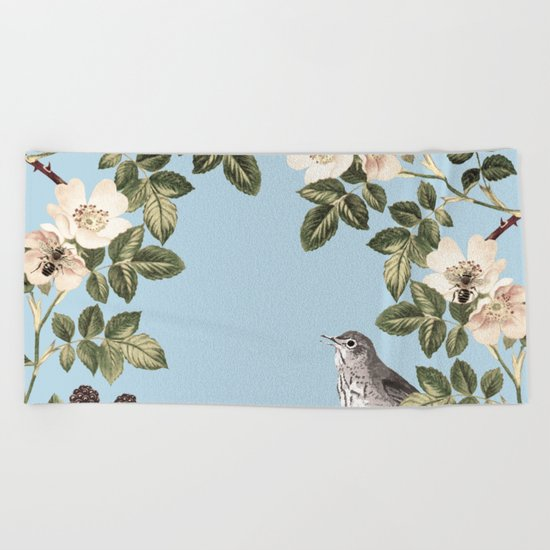 Birds and the Bees Blue Beach Towel