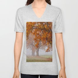Oaks in the misty Autumn morning (Golden Polish Autumn) Unisex V-Neck