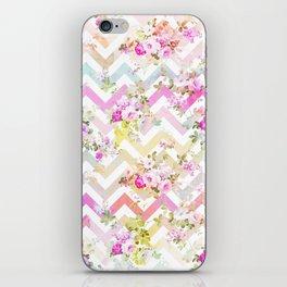 Chic vintage elegant pink flowers chevron pattern iPhone Skin