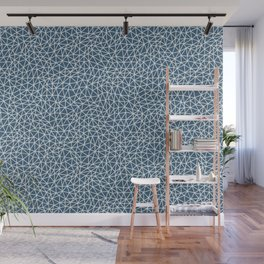 Off White Abstract Triangle Shape Pattern on Blue Pairs To 2020 Color of the Year Chinese Porcelain Wall Mural