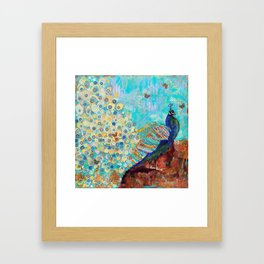 Peacock Paparazzi, peacock mixed media collage painting Framed Art Print