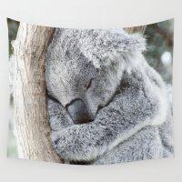 koala Wall Tapestries featuring Sleeping Koala by MehrFarbeimLeben