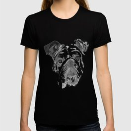 Portrait Of An American Bulldog In Black and White T-shirt