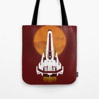 battlestar galactica Tote Bags featuring Battlestar Galactica Viper MK II by jake
