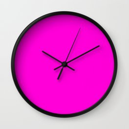Fluorescent Neon Hot Pink Wall Clock