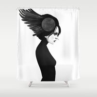 amy hamilton Shower Curtains featuring Amy by Ruben Ireland