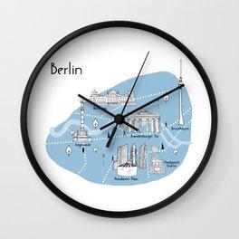 Mapping Berlin - Blue Wall Clock
