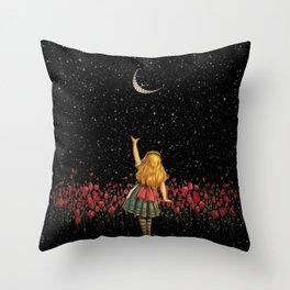 Wonderland Smiling Starry Night - Alice In Wonderland Throw Pillow