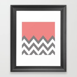 CORAL COLORBLOCK CHEVRON Framed Art Print