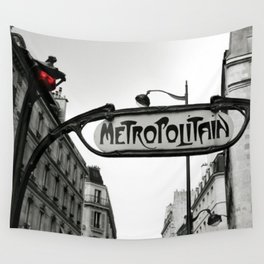 Paris Art Nouveau Metro - Metropolitan Subway Station Sign black and white photograph Wall Tapestry
