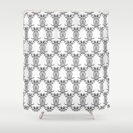 Deer Black and White Pattern Shower Curtain