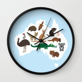 map of Australia. Echidna Platypus Emu Tasmanian devil Cockatoo Wombat crocodile kangaroo dingo Wall Clock