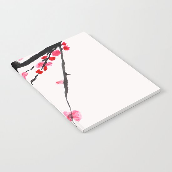 red plum flower red background Notebook
