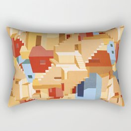 abstract architecture illustration - labyrinth building pattern  Rectangular Pillow