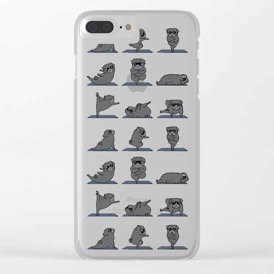 Black Pug Yoga Clear iPhone Case