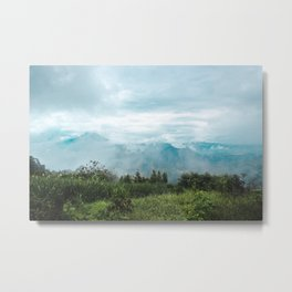 Lush green and blue views over the mountain range and valleys of Guatemala Metal Print