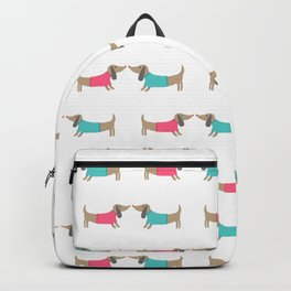 Cute dog lovers in white backgound Backpack