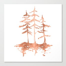 Three Sisters Trees Rose Gold on White Canvas Print