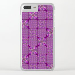 Bright Purple Rose Quilt Clear iPhone Case