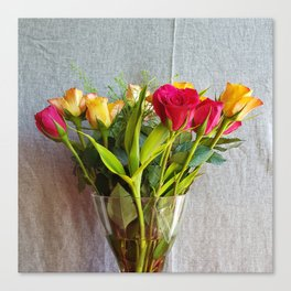 Flowers in a vase - with red and yellow roses Canvas Print