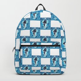 Shark whale watercolor painting Backpack