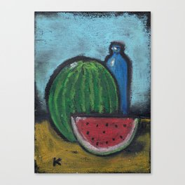 Watermelon with slice and blue bottle Still life Canvas Print