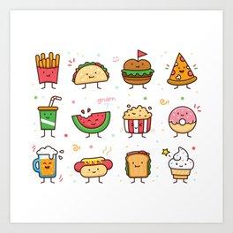 Food Doodle Art Print