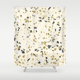 Glitter and Grit Yellow Gold Marble Shower Curtain